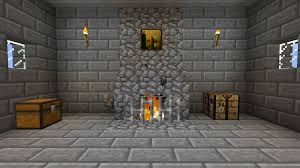 Minecraft Interior Designs  Episode 2  Living Room Furniture Fireplace In Minecraft