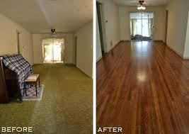 entryway and dining room with old carpet removed and original hardwood floors refinished from