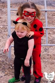 homemade diy cat noir and miraculous ladybug costumes on two young girls on a playground