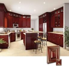 wood kitchen furniture. Modern Kitchen Design Ideas With Cherry Cabinets And Round Stools Plus Wood Island Also Furniture