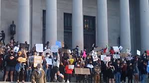Olympia, Washington activists at George Floyd protest chant '<b>All</b> ...