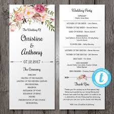 program template for wedding wedding program template instant download bohemian floral wedding