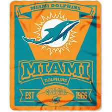 Miami Dolphins Plush Fleece Throw Blanket