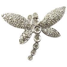 vintage 14 karat white gold diamond dragonfly pendant gold and silver brokers ruby lane