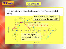 phase shift example of a wave that leads the reference not on guided notes