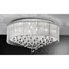 flush chandelier ceiling lights crystal ceilings light rated life using electronic low voltage dimmer mouth blown etched triplex glass multiple