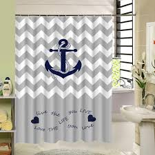 shower curtain shower environmentally friendly. Custom Stripe Shower Curtain Zigzag Anchor Waterproof Eco-Friendly Fabric Bath With Rings For Home Nautical Decor Environmentally Friendly N