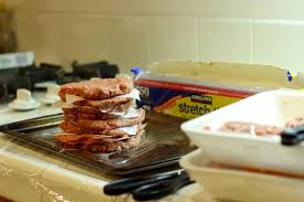 making burger patties for the freezer