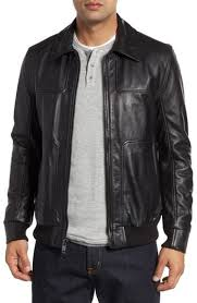 Andrew Marc Vaughn Shirt Collar Leather Bomber Jacket, $375 | Nordstrom |  Lookastic