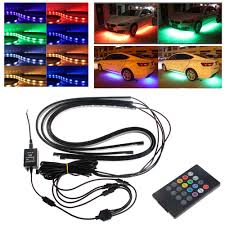 Under Car Light Kit Us 20 38 21 Off Rgb Led Strip Under Car Tube Underbody Underglow Glow System Neon Light Remote Car Styling In Car Headlight Bulbs Led From