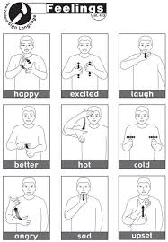 Sheet Containing 13 Essential Nzsl Signs For Feelings Asl