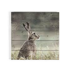 hare print on wood wall art homebase