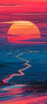 Sunset Horizon Scenery Landscape Art 4K ...