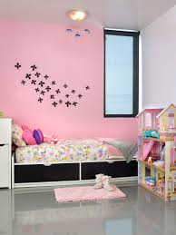 umbra wallflower wall decor white set: cute modern pink kids bedroom with pink wall and single bed also wall flower by umbra