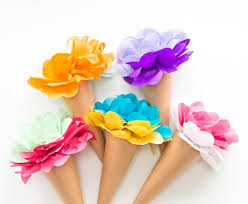 How To Make Paper Cones For Flower Petals Make Tissue Paper Ice Cream Cone Flowers