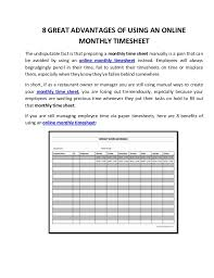 Time Sheet Online 8 Great Advantages Of Using An Online Monthly Timesheet