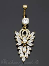 14k yellow gold ip chandelier dangle simulated diamond belly on navel ring
