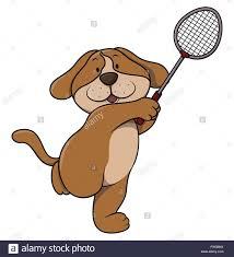 playing cartoon dog playing tennis cartoon stock vector art illustration vector