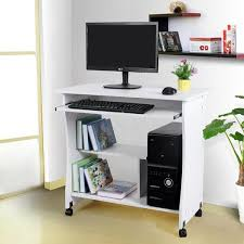 portable office desk. Computer Office Desk Table Movable Portable Trolley Study Workstation With Sliding Keyboard 2 Shelves 4 Wheels