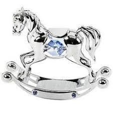 chrome plated rocking horse ornament with swarovski elements h samuel