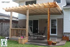 Medium size, low, single level deck design with planters and a pergola.