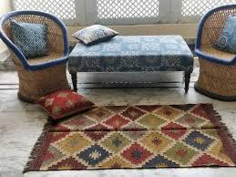 kilim jute wool rug in vibrant colors with fringes best jute rugs in jaipur