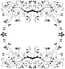 花のイラストフリー素材フレーム枠no343白黒茎葉蔓