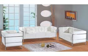 White Living Room Set 6 Pc Modern Leather Living Room Set In White Sofa Loveseat Chair