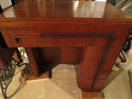 art deco furniture restoration. mid20th century walnut singer art deco sewing machine cabinet after restoration furniture e