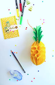 make 3d honeycomb pineapple decor for summer parties using this tutorial by punkprojects