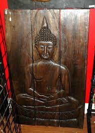 large 3 pannel buddha wood