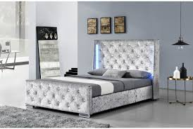 Led Bedroom Furniture Dorchester Led Winged Diamante Headboard Crushed Velvet