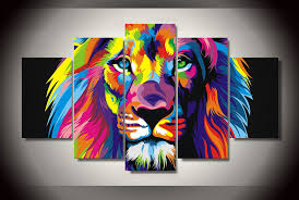 hd printed colorful lion painting on canvas room decoration print poster picture canvas free in painting calligraphy from home garden on