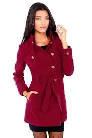 vegan peacoat by jack wine red belted pea coat winter coats womens