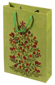 gift bags bulk handmade 12 inch paper bag green dried pressed natural flowers recycled