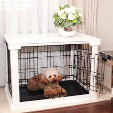Merry Products White Wooden Pet Kennel with Crate Cover - Free Shipping  Today - Overstock.com - 17502735