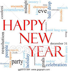 Clipart Happy New Year Word Cloud Concept Stock Illustration