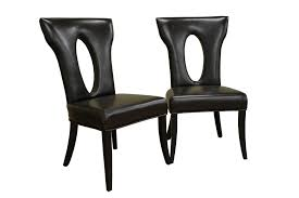 furniture black leather chairs with oval hole on backrest and black wooden legs magnitic