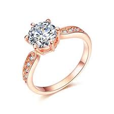 Amazon.com: SPILOVE Serend 18k Rose Gold Plated 1.5ct Heart ...