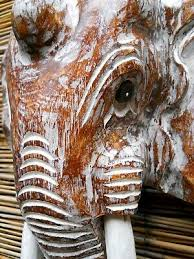 home décor carved wooden elephant head