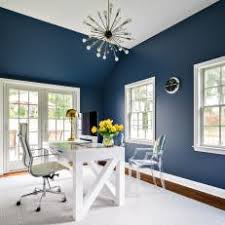 dramatic navy home office blue modern home office