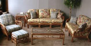 Wicker Living Room Furniture Comfy Gold Floral Pattern Stylish Leather Wooden Sofa With Some
