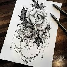 эскиз татуировки цветы черно белые 45078 тату салон дом элит тату