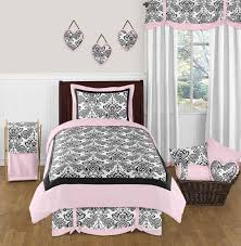 Elegant Black White Pink Damask Scroll Bedding Twin Full/Queen Comforter  Set for Girls Sophia