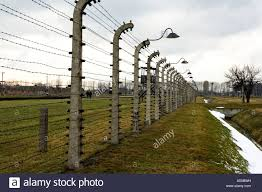 barbed wire fence concentration camp. Barbed Wire Fences In The Nazi Concentration Camp Of Auschwitz-Birkenau Near Krakow Poland Fence