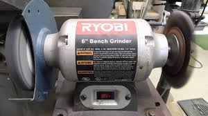 bench grinder in use. lot #0118: ryobi 6\ bench grinder in use