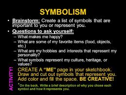 warm up define the term symbol in your own words and give an  7 symbolism brainstorm create a