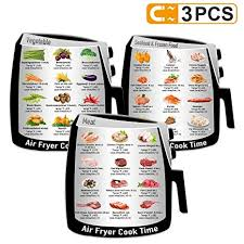 3 Pack Air Frying Cook Time Chart Guide Recipes Cookbook More Food Types Food Images Magnetic Cheat Sheet Quick Reference Guide For Common Food
