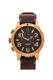 nixon the 48 20 chrono leather in rose gold brown