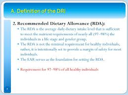 a definition of the dri 2 remended tary allowance rda